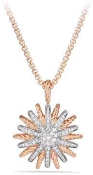 David Yurman Starburst Pendant With Diamonds In 18K Rose Gold, 22Mm