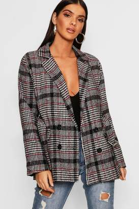 boohoo Check Belted Wool Look Blazer
