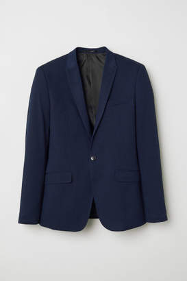 H&M Skinny Fit Dobby-weave Blazer - Blue