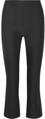 Theory - Erstina Cropped Stretch Cotton-blend Flared Pants - Black $265 thestylecure.com