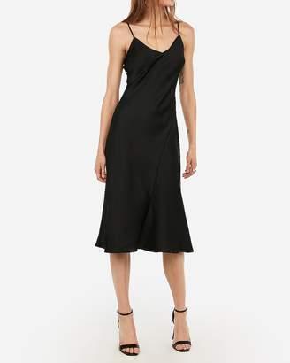 Express Satin Seamed V-Neck Slip Dress