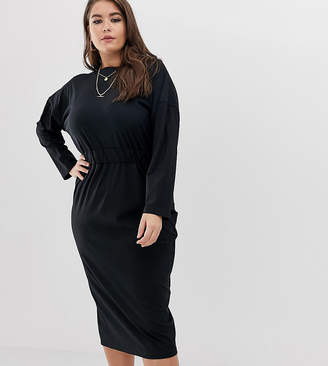 Asos DESIGN Curve rib wrap back midi pencil dress