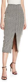 Front-Slit Wave Print Skirt