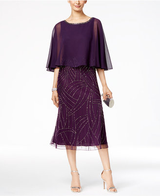 J Kara Beaded Capelet Midi Dress $259 thestylecure.com