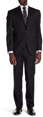 David Donahue Black Solid Two Button Notch Lapel Wool Classic Fit Suit