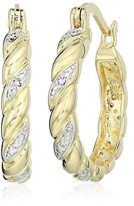 Two-Tone Diamond Accent Twist Hoop Earrings