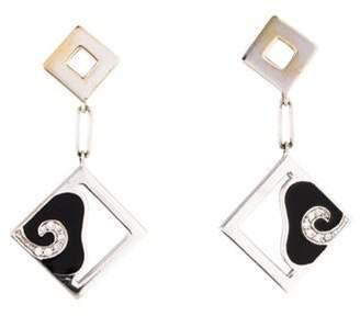 La Nouvelle Bague 18K Diamond & Enamel Drop Earrings white La Nouvelle Bague 18K Diamond & Enamel Drop Earrings