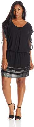 S.L. Fashions Women's Plus-Size Sleeveless Blouson with Foil Trimmed Hem