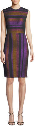 Diane von Furstenberg Metallic-Stripe Sleeveless Sheath Dress