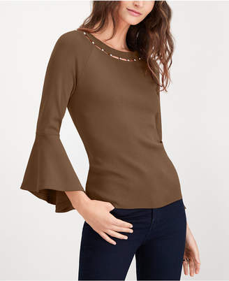 INC International Concepts I.N.C. Bead-Neck Bell-Sleeve Top, Created for Macy's