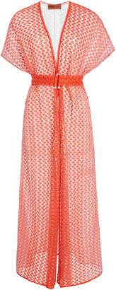 Missoni Mare Belted Crochet-Knit Kaftan