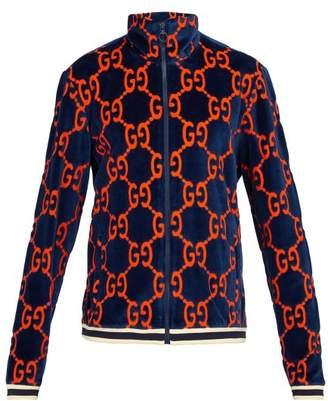 Gucci Gg Devore Velvet Bomber Jacket - Mens - Navy Multi