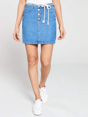 f9fa4624a5 Very Exposed Button Denim Skirt with Rope Belt - Bright Blue