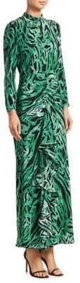 Rixo Lucy Tiger Print Silk Slit Dress