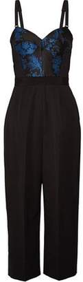Stella McCartney Sabrina Paneled Satin-Jacquard Cotton-Blend Cady And Wool-Canvas Jumpsuit