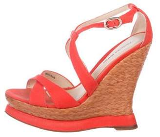 Alexandre Birman Peep-Toe Woven Wedge Sandals Orange Peep-Toe Woven Wedge Sandals