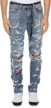 Off-White Off White Men's Distressed Back-Dart Jeans