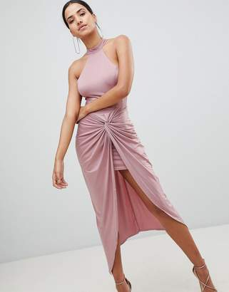 AX Paris Ruched Maxi Dress With Side Split