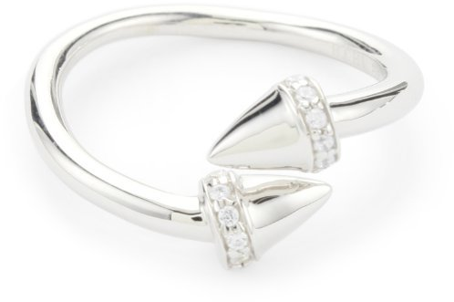 Nicky Hilton Sterling Silver Bypass Spike Ring With Cubic Zirconia