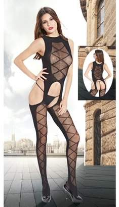 Prime Shaper Sheer Mesh Crotchless One Piece Bodystocking