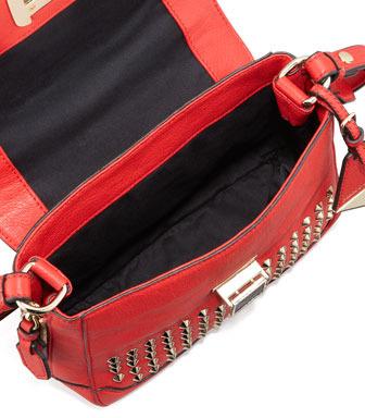 Rebecca Minkoff Elle Mini Studded Satchel Bag, Scarlet