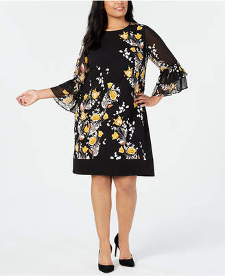 Alfani Plus Size Floral-Print Bell-Sleeve Dress, Created for Macy's
