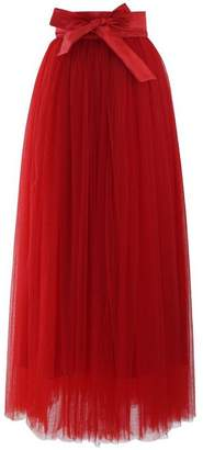 Omelas Womens Long Maxi Tulle Tutu Skirt High Waisted A-line Flowy Party Dress Navy Blue