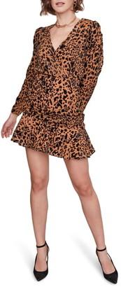 ASTR the Label Nikita Leopard Print Wrap Front Long Sleeve Minidress
