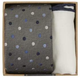 The Tie Bar Dotted Tie and Pocket Square Set