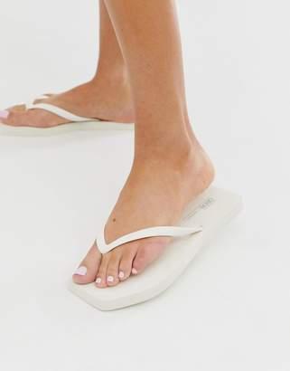 Asos Design DESIGN Fan square toe flip flops in white