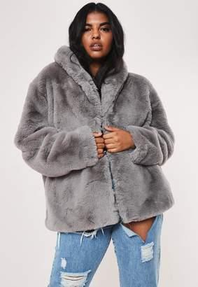 Missguided Plus Size Grey Shawl Collar Faux Fur Coat