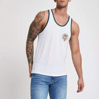River Island Mens White slim fit back print tank top