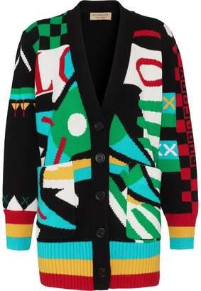 Burberry Graphic Intarsia Merino Wool Cotton Cardigan