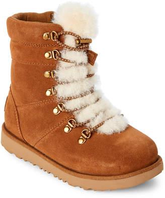 UGG Kids Girls) Chestnut Viki Real Fur Lace-Up Boots