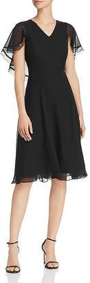Nanette Lepore nanette Chiffon Fit-and-Flare Cape Dress