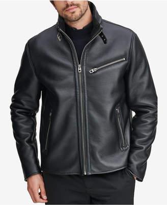 Andrew Marc Men's Faux-Leather Full-Zip Moto Jacket