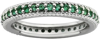 Stacks & Stones Sterling Silver Lab-Created Emerald Eternity Stack Ring
