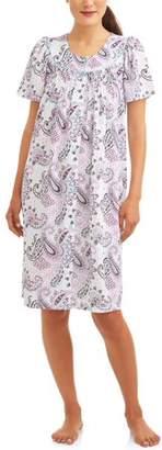 Secret Treasures Women's and Women's Plus Short Sleeve Snap Front Waffle Knit Breakfast Gown