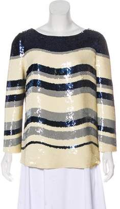 Tory Burch Striped Sequin Jill Long Sleeve Top