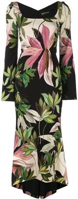 Christian Siriano Hawaiian print fitted dress