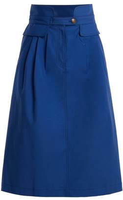 Sea Kamille Stretch Cotton Skirt - Womens - Blue
