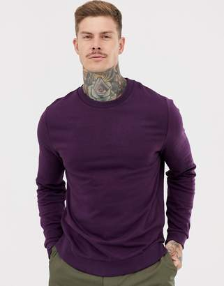 Asos DESIGN sweatshirt in dark purple