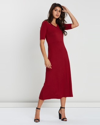 Maya V Neck Off Shoulder Jersey Maxi