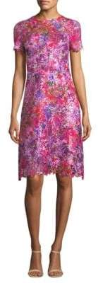 Elie Tahari Floral Lace A-Line Dress