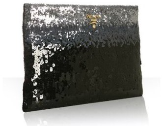 Prada iron ombre trimmed sequined clutch