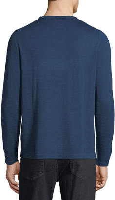 Neiman Marcus Men's Horizontal-Stripe Crewneck Long-Sleeve Wool-Blend Sweater