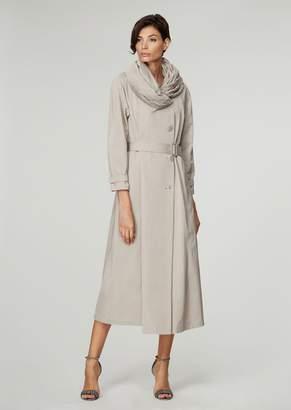 Giorgio Armani Cotton Blend Faille Trench Coat With Plisse Collar