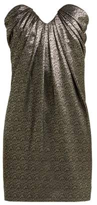 Saint Laurent Strapless Metallic Jacquard Mini Dress - Womens - Black Silver