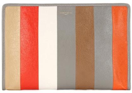 Balenciaga Holiday Bazar striped leather clutch