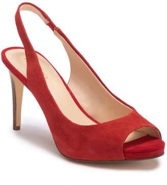 Nine West Known As Suede Slingback Peep Toe Stiletto Heel